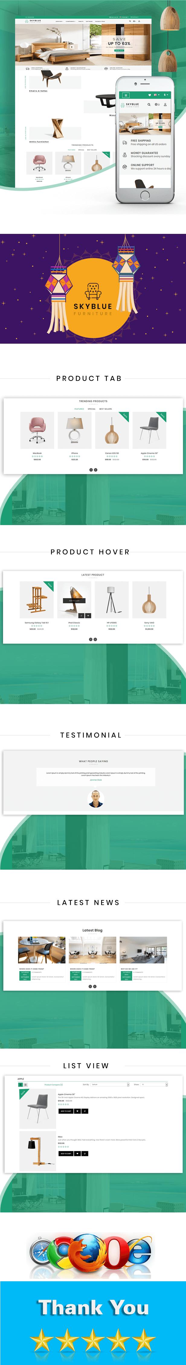 Skyblue Furniture and Home Decor Prestashop Theme - 1